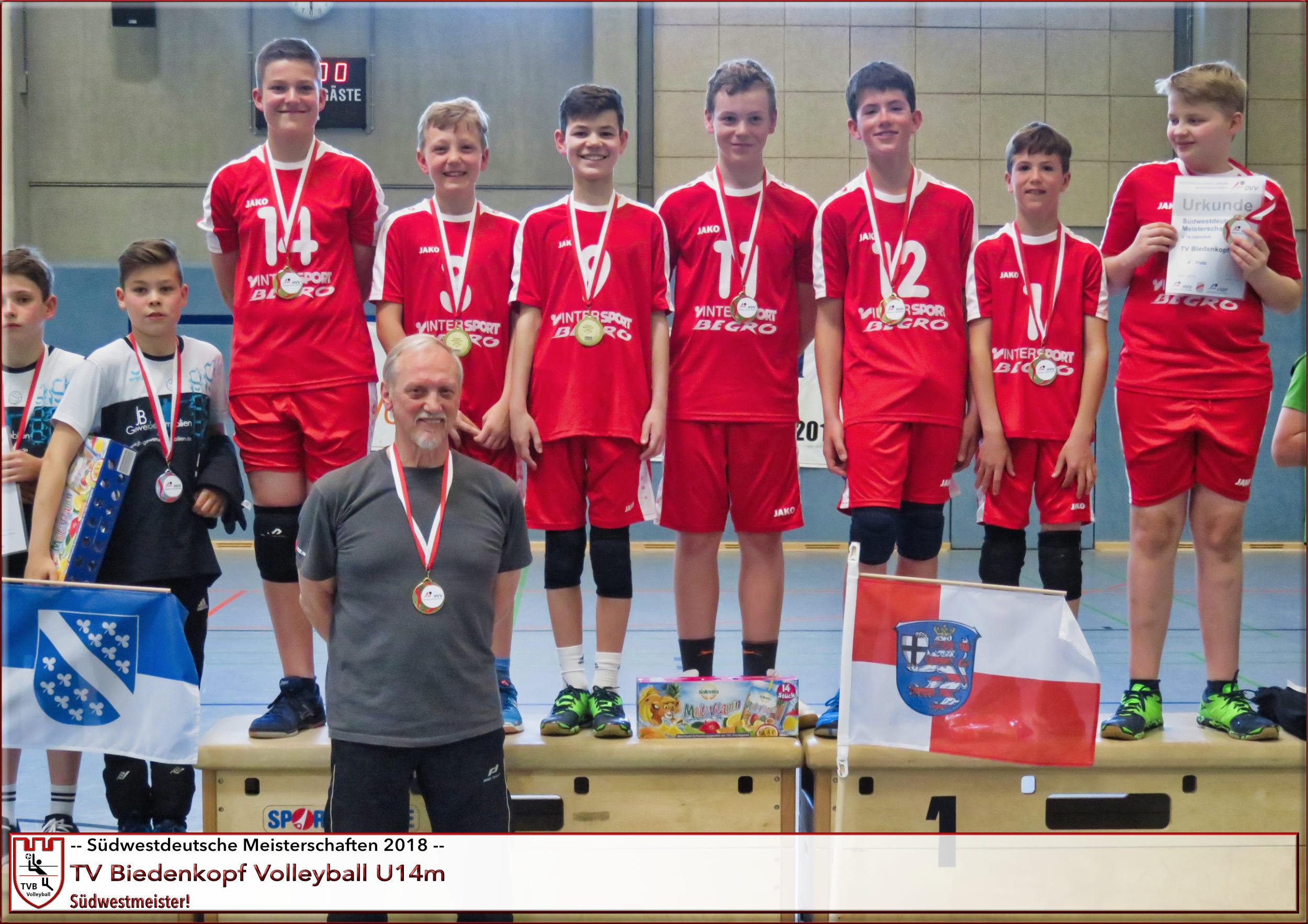 U14m | TVB Volleyball Südwestdeutsche Meisterschaften Siegerehrung