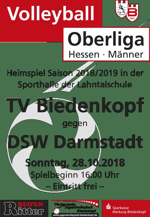 Volleyball Heimspiel des TV Biedenkopf Oberliga Hessen gegen DSW Darmstadt am 28. Oktober 2018 in der Großsporthalle der Lahntalschule in Biedenkopf