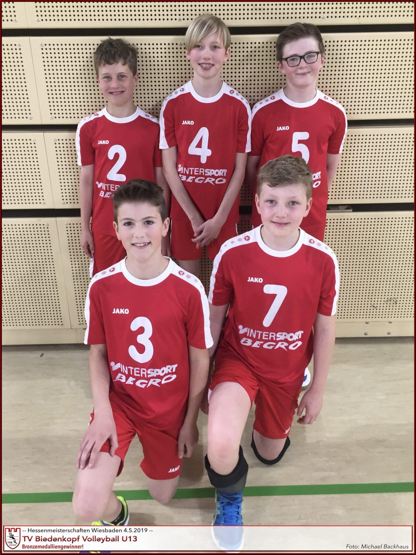 Volleyball U13m TV Biedenkopf Hessenmeisterschaften Wiesbaden Mai 2019 Platz 3