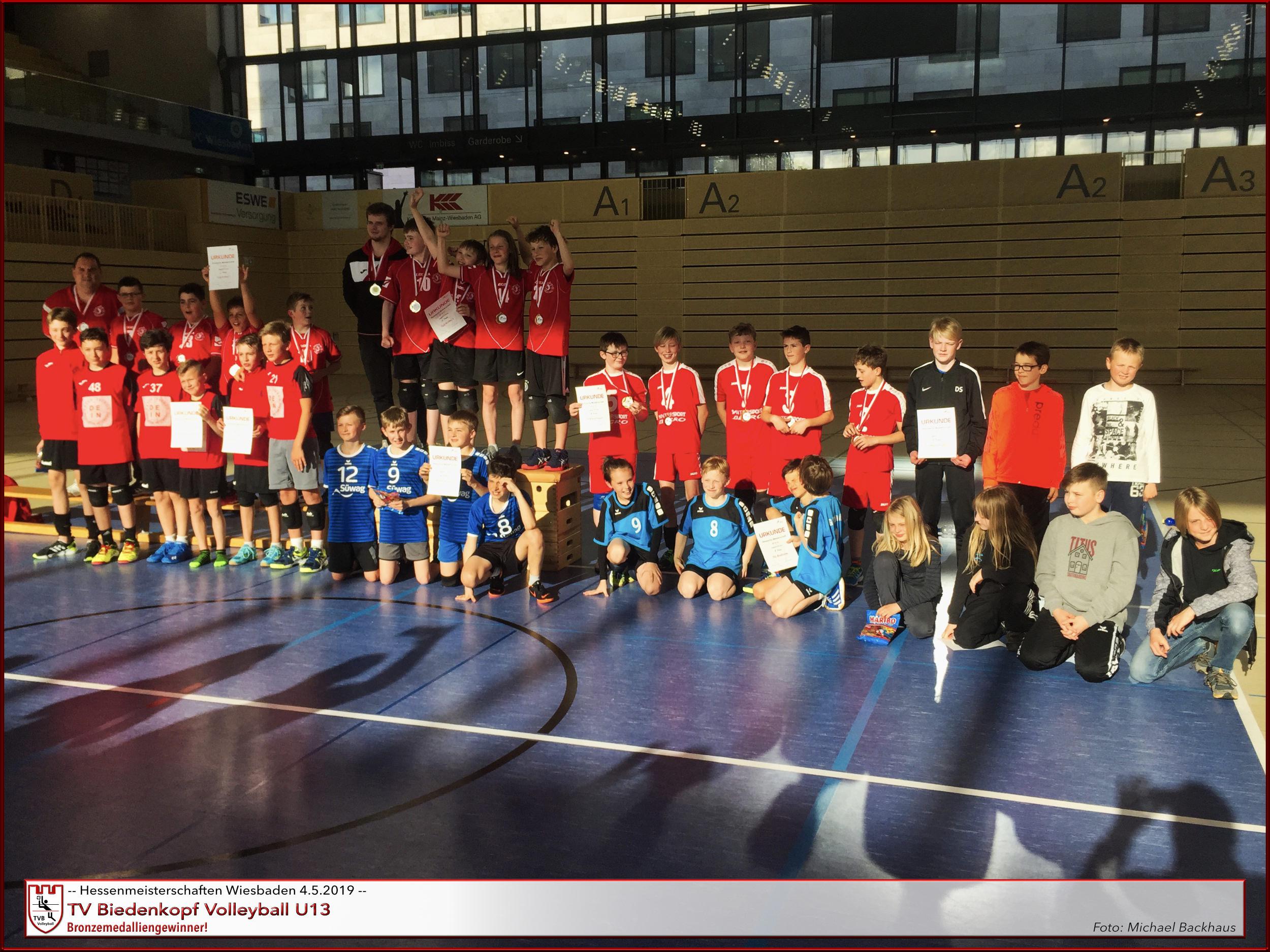 Volleyball U13m Hessenmeisterschaften Mai 2019 Wiesbaden Siegerehrung | TV Biedenkopf Platz 3