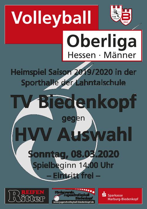 Einladung Heimspiel Volleyball Oberliga Hessen 19-20 | TV Biedenkopf Team M1 vs. HVV Auswahl