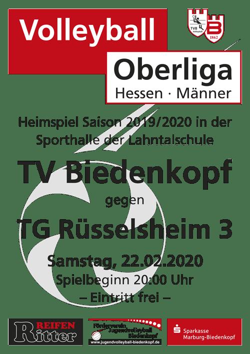 Einladung Heimspiel Volleyball Oberliga Hessen 19-20 | TV Biedenkopf Team M1 vs. TG Rüsselsheim 3